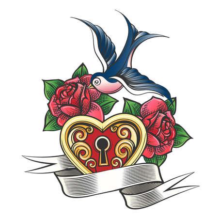 Serrure en forme de coeur avec hirondelle, fleurs roses et une bannière. Style de tatouage old school. Illustration vectorielle.