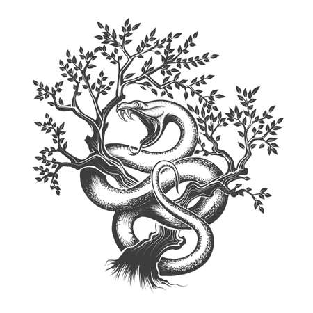 Snake with open mouth crawling up inside a tree drawn in engraving style. Vector illustration. Ilustração