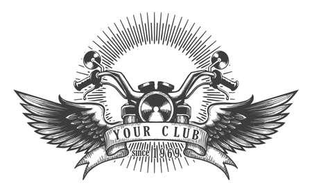 Vintage motorfiets club embleem. Motorfiets met vleugels. Vector illustratie