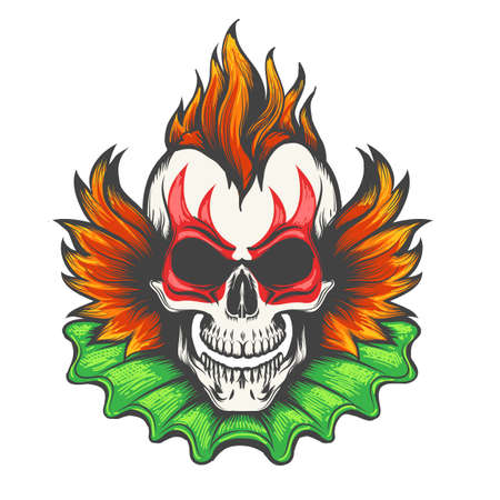 Colorful Evil clown skull isolated on white background. Vector illustration.