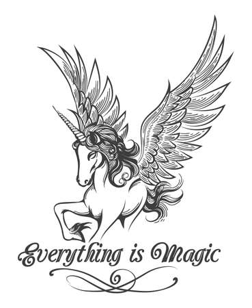 Flying Unicorn and wording Everything is Magic drawn in tattoo style isolated on white. Vector illustration