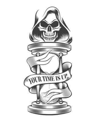 Hourglass with skull in hood and wording Your Time is Up on the ribbon