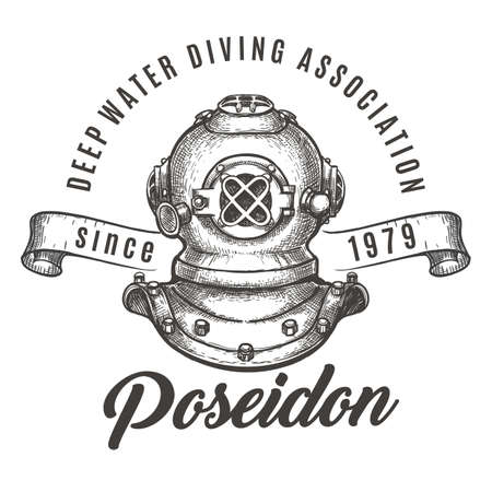 Deep water diving association label with a diving helmet and ribbon.