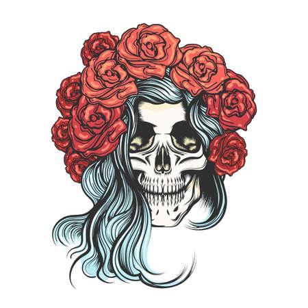 Skull in roses wreath vector illustration