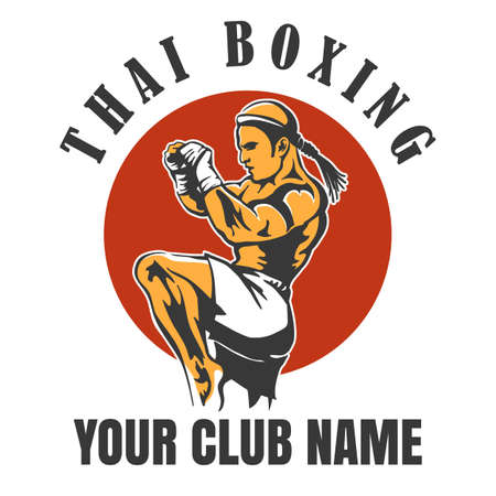 Thai Boxing Club emblem illustration Banque d'images - 99995097