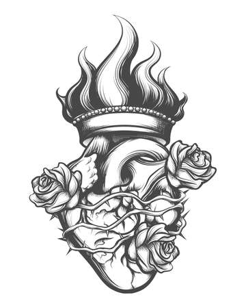 Sacred Heart drawn in engraving style. Vector illustration. 版權商用圖片 - 100405479