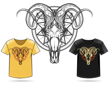 Hand Drawn Ram Skull Print Design. Vector illustration in engraving style