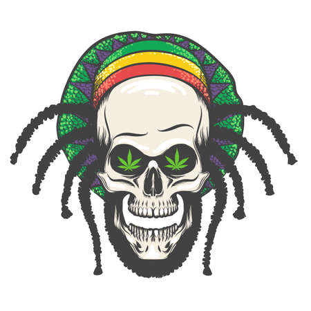 Human Skull with dreadlocks in rastaman hat. Vector illustration.