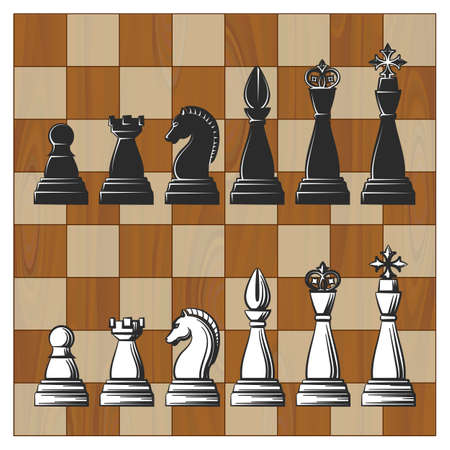 Wooden Chess Board wth Black and White Chess Pieces. Vector illustration.  Illustration