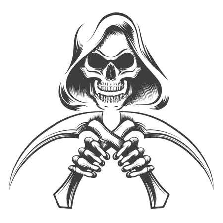 Schedel in een kap met zeismessen in handen getekend in tattoo-stijl. Vector illustratie.