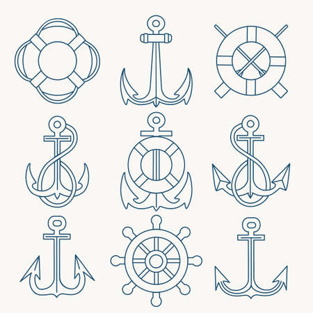 Thin Line Anchors, lifebuoy and steering wheels Emblem set. Vector illustration. Illustration