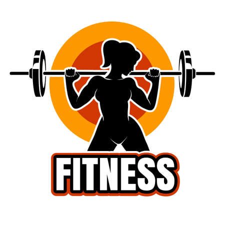 Athletic woman training with barbell. Fitness emblem or label. Vector illustration.