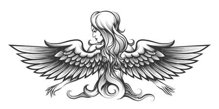 Long haired woman with angel wings drawn in engraving style. Vector illustration. Stock Illustratie