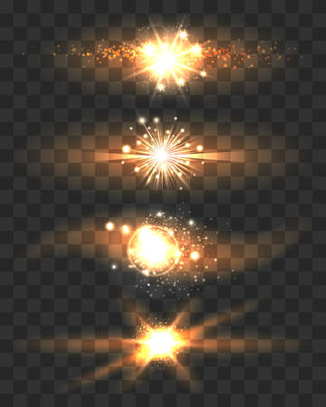 Golden Stars with Glow Light Effects on Transparent Background. Vector Illustration. Çizim