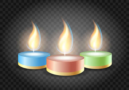 Burning Romantic candles on transparent background. Vector Illustration.