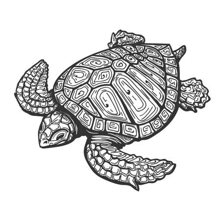 Sea Turtle  Drawn in Tattoo Style. Vector Illustration