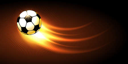 Soccer ball with fire trail flying on black background. Illustration