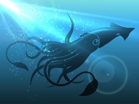 Giant Squid in Deep Water. Vector Illustration.