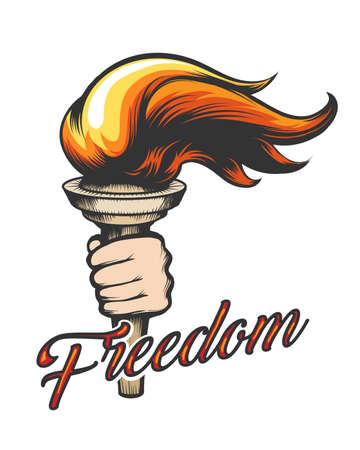 Torch in Human Hand and wording Freedom drawn in tattoo style. Vector Illustration.  Ilustracja