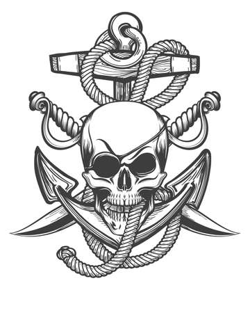 Human Skull with Eyepath and Two Sabres against Anchor in Ropes drawmn in tattoo style. Vector illustration. Vettoriali