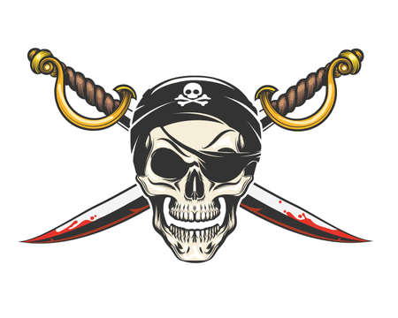 Smiling Human Skull and crossed sabres drawn in tattoo style. Vector Illuistration. Vettoriali
