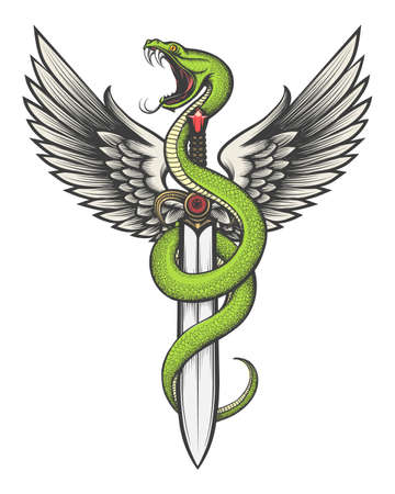 Snake with Wings and Sword drawn in tattoo style. Vector illustration. Stock Illustratie