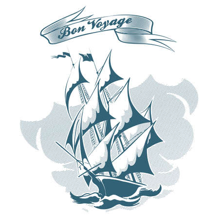 Sail ship drawn in engraving retro style and ribbon with Bon Voyage wording. Vector Illustration.