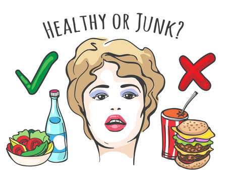 Young Woman make choice between healthy and junk food. Diet and health concept in retro style. Vector Illustration. Illusztráció