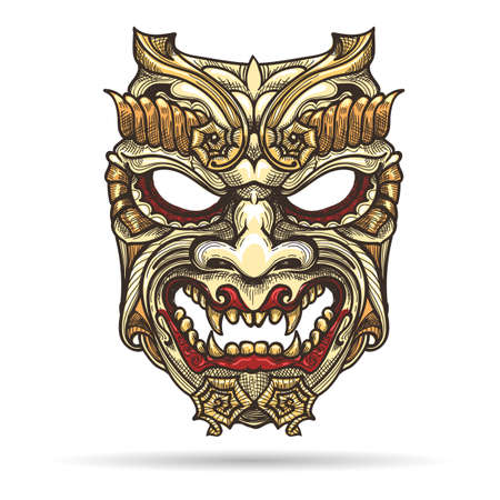 Hand drawn Japanese Samurai Demon Mask. Vector illustration.