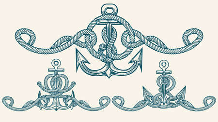 Set of Anchor with Marine ropes drawn in Retro style. Vector Illustration. 스톡 콘텐츠 - 103790157