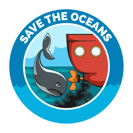 Sad whale and old wessel with oil pollution. Ecological emblem with wording Save the Oceans. Vector Illustration.