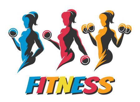 Tres mujeres coloridas que sostienen las siluetas del peso. Conjunto de plantillas de logotipos de odybuilder. Diseño de logotipos de fitness, gráficos de emblemas. Ilustración de vector. Logos