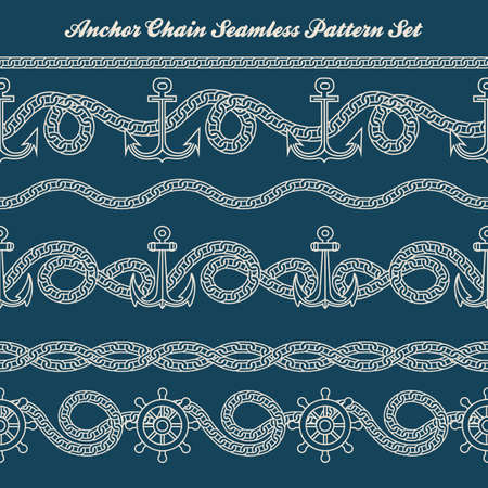 Six nautical patterns with anchor and chain. Vector illustration. Stock Illustratie