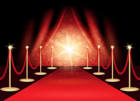 Alfombra roja con escenario de premios, fondo abstracto. Ilustración de vector. Ilustración de vector