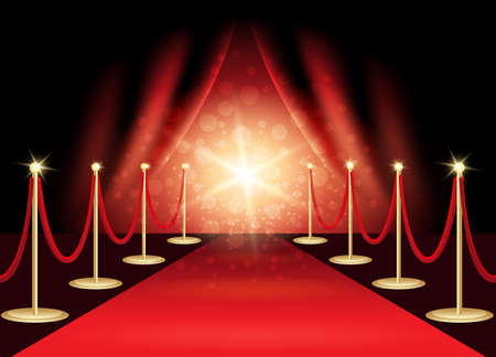 Red carpet with award stage, abstract background. Vector Illustration.