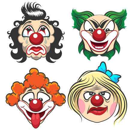 Set of different circus clown faces. Fun and creepy clowns. Vector Illustration. Ilustração