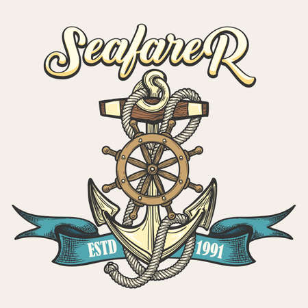 Nautical vintage label, emblem or print in tattoo style. Anchor, rope, steering wheel and ribbon. Vector illustration.