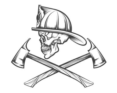 Cráneo de bombero en casco y dos ejes cruzados dibujados en estilo tatuaje. Ilustración de vector.