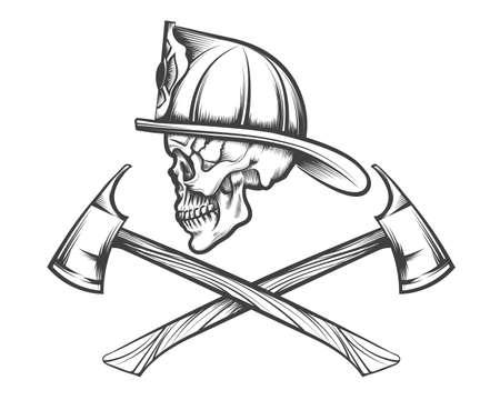 Crâne de pompier en casque et deux axes croisés dessinés dans le style de tatouage. Illustration vectorielle.