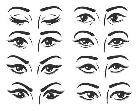 Conjunto de ojos femeninos. Hermosos ojos femeninos con expresión diferente. Ojos mirando hacia la derecha, izquierda, arriba, abajo y cerrados. Ilustración vectorial.