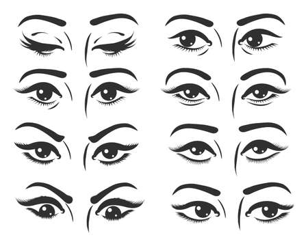 Set of female eyes. Beautiful female eyes with different expression. Eyes looking straight, right, left, top, down and closed. Vector illustration.