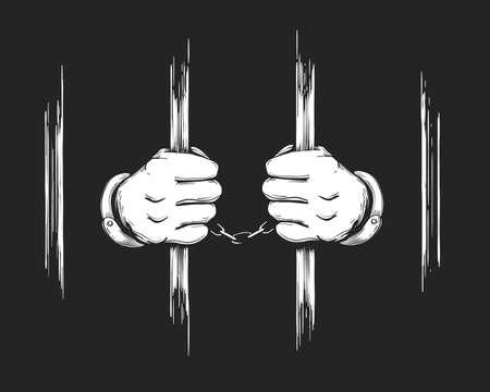 Manos de prisionero dibujadas a mano en puños sosteniendo barras de la cárcel. Ilustración de vector. Ilustración de vector