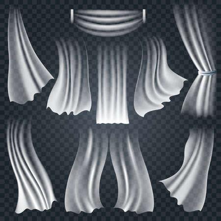 Conjunto de telas blancas ondeantes realistas, suaves y ligeras aisladas sobre fondo transparente. Ilustración vectorial