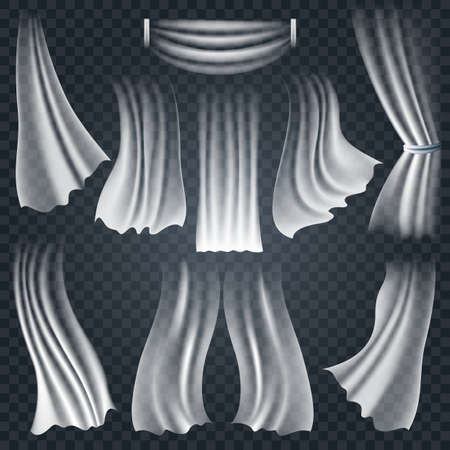 Set of realistic fluttering white cloths soft lightweight isolated on transparent background. Vector illustration