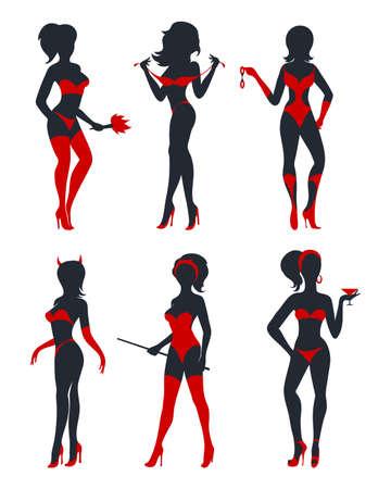 Conjunto de hermosas mujeres diablo en lencería, medias y tacones altos. Siluetas negras y rojas aisladas en blanco. Ilustración vectorial.