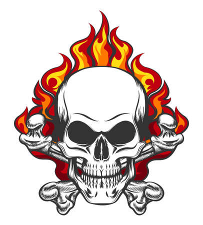 Hand drawn vintage stylized skull and bones in flames in tattoo style. Vector illustration.