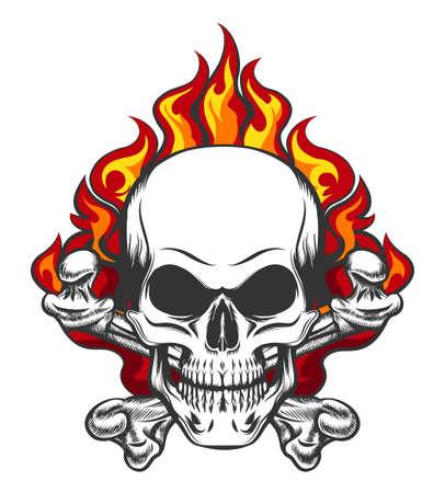 Hand getekende vintage gestileerde schedel en botten in vlammen in tattoo-stijl. Vector illustratie.