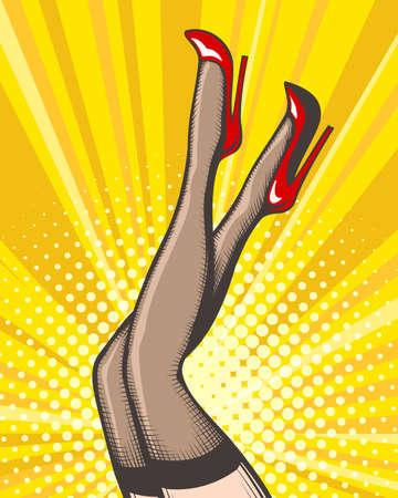 Jambes féminines pop art en chaussures rouges sur des talons hauts. Illustration vectorielle. Vecteurs