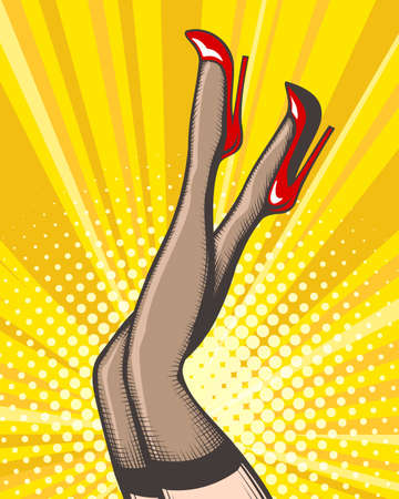 Pop art female legs in red shoes on high heels. Vector illustration. Vettoriali