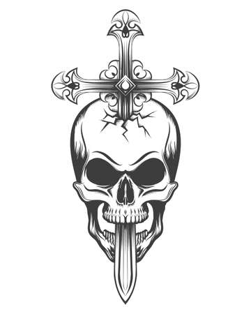 Human skull pierced by sword in the shape of a cross Archivio Fotografico - 104899056